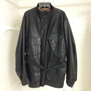 Barbour International Belted Leather Jacket in XL